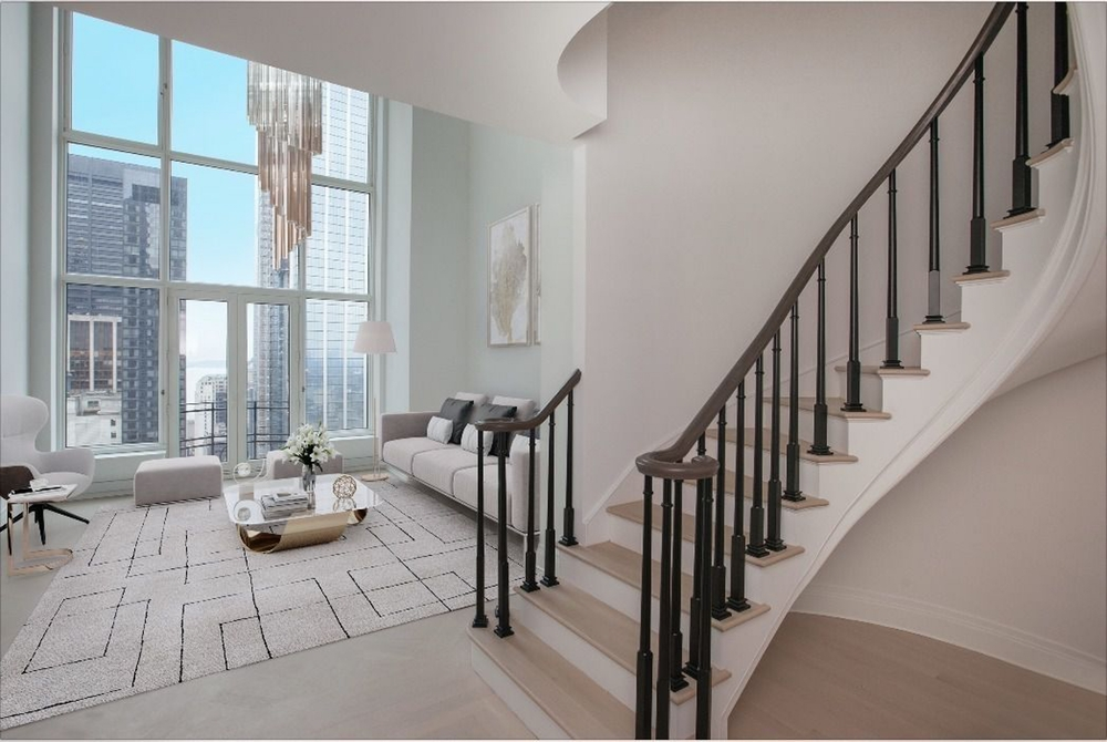Enjoy 5-Star living at this BRAND NEW spectacular 3 bedroom 3.5 bath DUPLEX featuring an elegant winding staircase and jaw dropping 22' double-height ceilings at the incredible Four Seasons Private Residences. With views overlooking One World Trade Center, The Oculus, city skyline and Hudson River, this palatial residence features oversized floor to ceiling windows, an enormous chef's kitchen, separate dining room, and corner master bedroom suite. Interior finishes include herringbone patterned solid oak flooring in the formal rooms, Bilotta rift-cut oak kitchen cabinetry, Gaggenau appliances, and chinchilla mink marble bathrooms with Robert A.M. Stern custom-designed vanities. Residents will also enjoy access to Four Seasons Hotel amenities including a spa and salon facilities, 75' swimming pool, attended parking garage, restaurant, bar and lounge, ballroom facilities, meeting rooms, and an abundance of a la carte services. The 38th floor is devoted to private residential amenities including a fitness center and yoga studio, private dining room, conservatory and lounge with access to loggias, Roto-designed kid's playroom, and a screening room. Unparalleled luxury awaits you in the heart of Tribeca with Westfield World Trade Center Mall, Saks Fifth Avenue, Brookfield Place, Eataly, Wholefoods, Soul Cycle, Le District, nearly every major subway line and a wealth of renowned restaurants all at your doorstep.