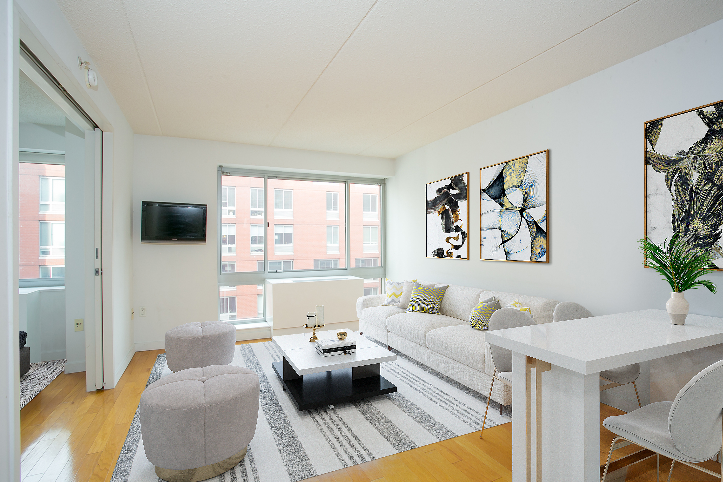 One-bedroom apartment in the heart of the West Chelsea Art District!  This is one of the neighborhood's most desirable and affordable Condo buildings. The apartment features a beautiful open kitchen with breakfast bar that opens to a large living room. The kitchen has all stainless steel appliances including a dishwasher, granite counter tops, and maple cabinetry. Beautiful large windows with Northern skyline and courtyard views making the apartment bright and very quiet.The building offers wonderful amenities including a full-time doorman, concierge service, 2,000 SQFT fitness center, massive 12,000 SQFT sundeck with fountains and reflecting pond, bike room, and parking.Located a short distance from amazing Chelsea restaurants, art galleries, and shopping, as well the famous High Line Park,  Chelsea Market, Hudson River Park, and Chelsea Piers.
